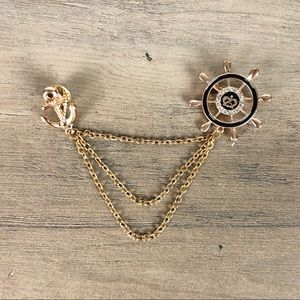 Gold Rudder and Anchor Navy Style Lapel Pin